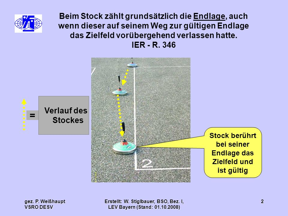 Beim Stock zählt grundsätzlich die Endlage, auch wenn dieser auf seinem Weg zur gültigen Endlage das Zielfeld vorübergehend verlassen hatte.