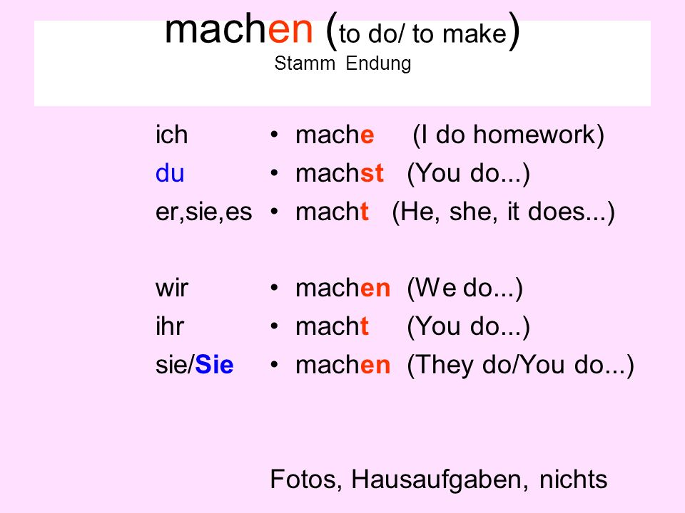 machen (to do/ to make) Stamm Endung