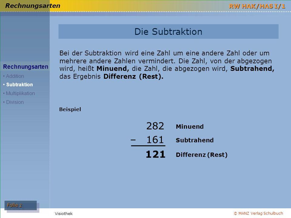 Rechnungsarten Die Subtraktion.