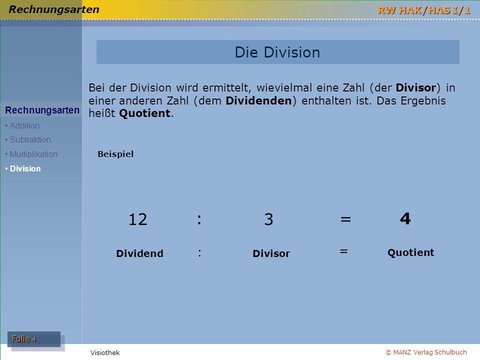 Rechnungsarten Die Division.