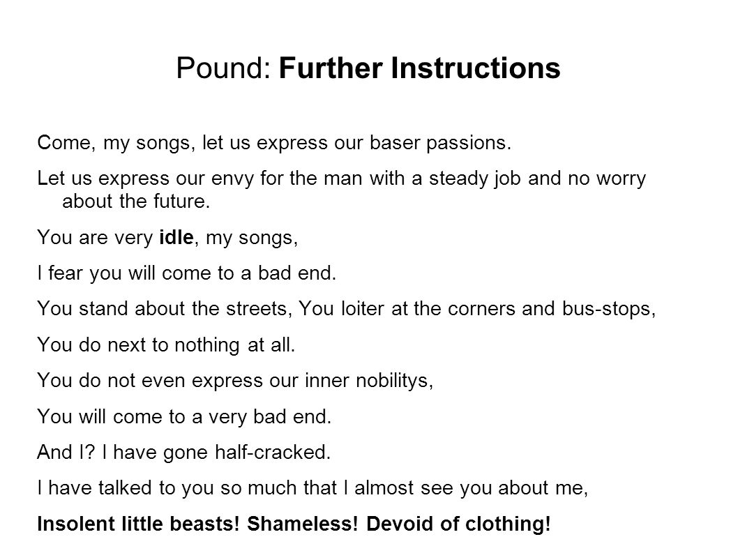 Pound: Further Instructions