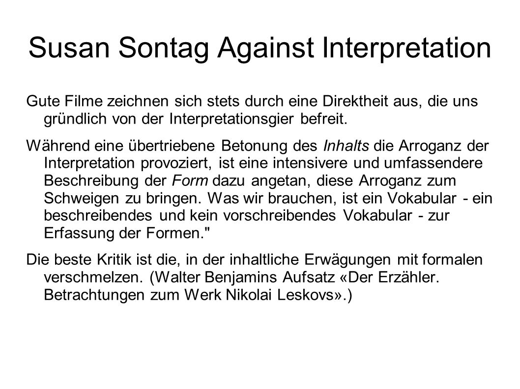 Susan Sontag Against Interpretation