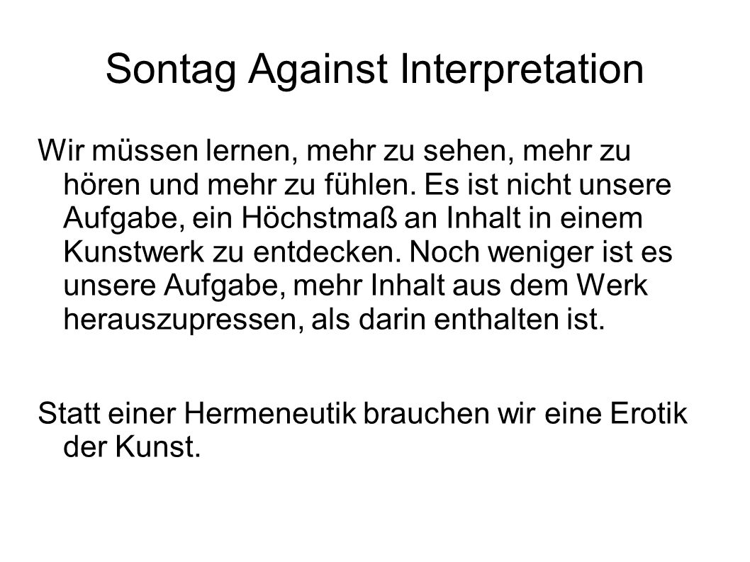 Sontag Against Interpretation