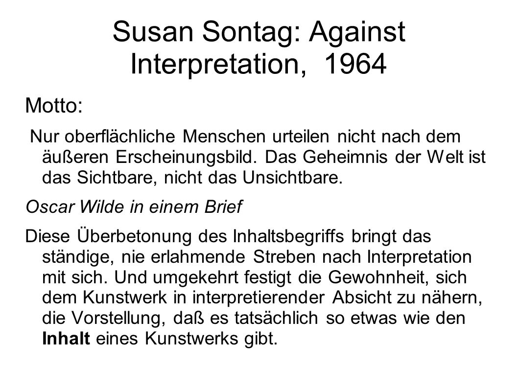 Susan Sontag: Against Interpretation, 1964
