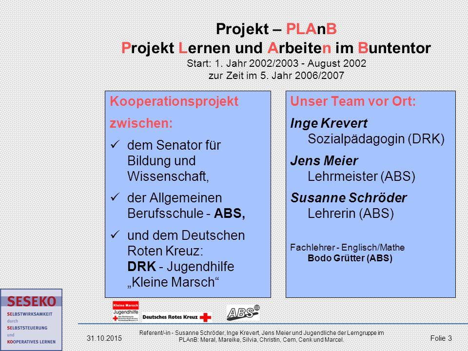 24.04.2017 Projekt – PLAnB Projekt Lernen und Arbeiten im Buntentor Start: 1. Jahr 2002/2003 - August 2002 zur Zeit im 5. Jahr 2006/2007.