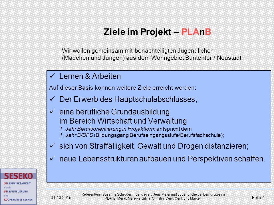 Ziele im Projekt – PLAnB