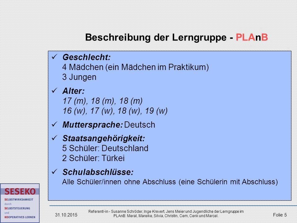 Beschreibung der Lerngruppe - PLAnB