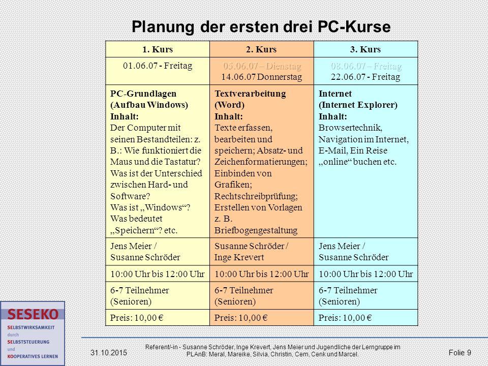 Planung der ersten drei PC-Kurse