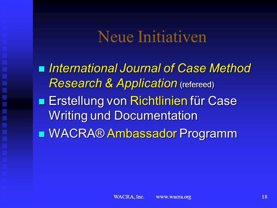 Neue InitiativenInternational Journal of Case Method Research & Application (refereed) Erstellung von Richtlinien für Case Writing und Documentation.