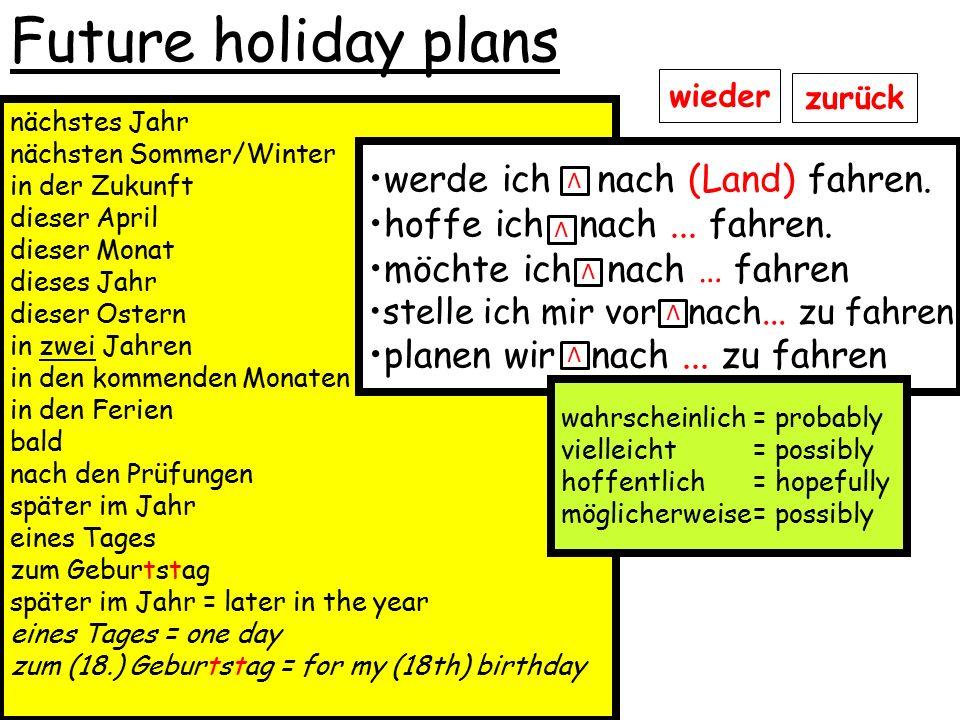 Future holiday plans werde ich nach (Land) fahren.