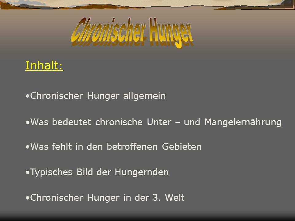 Chronischer Hunger Inhalt: Chronischer Hunger allgemein