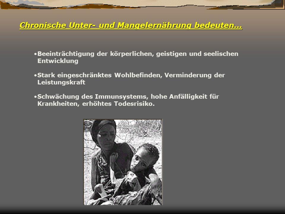 Chronische Unter- und Mangelernährung bedeuten...