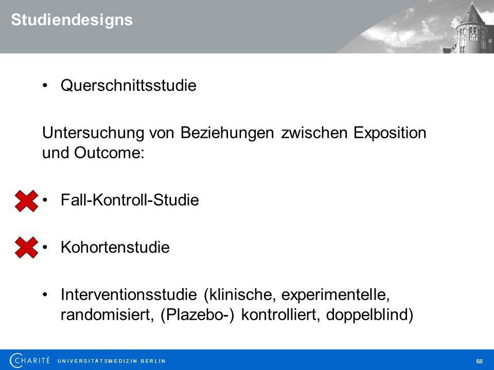 Studiendesigns Querschnittsstudie. Untersuchung von Beziehungen zwischen Exposition und Outcome: Fall-Kontroll-Studie.