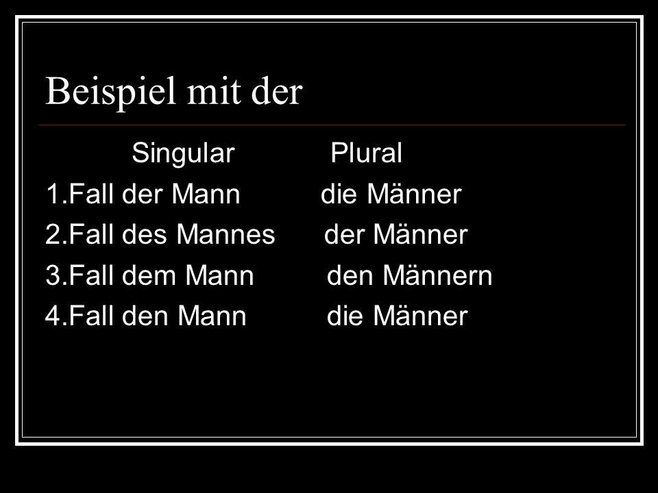 Beispiel mit der Singular Plural 1.Fall der Mann die Männer
