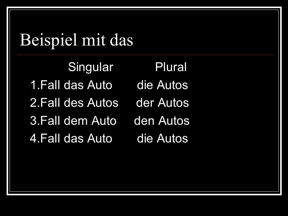 Beispiel mit das Singular Plural 1.Fall das Auto die Autos