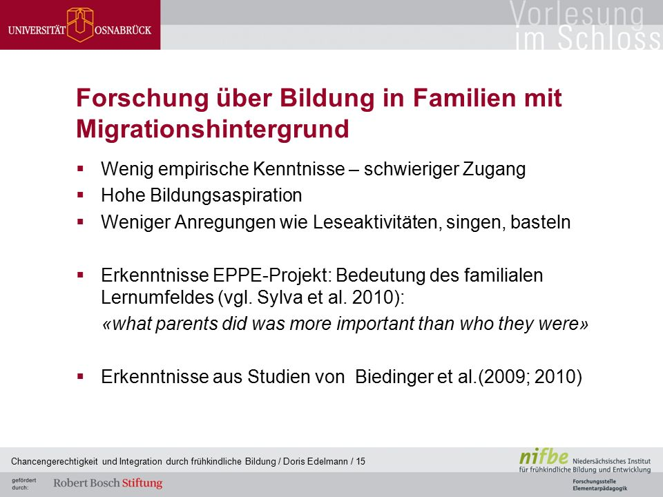 Forschung über Bildung in Familien mit Migrationshintergrund