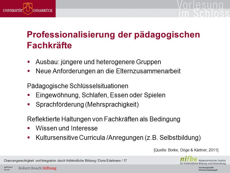 Professionalisierung der pädagogischen Fachkräfte