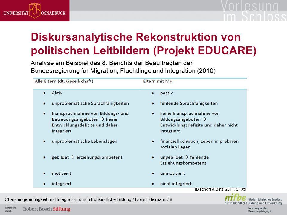 Diskursanalytische Rekonstruktion von politischen Leitbildern (Projekt EDUCARE) Analyse am Beispiel des 8. Berichts der Beauftragten der Bundesregierung für Migration, Flüchtlinge und Integration (2010)