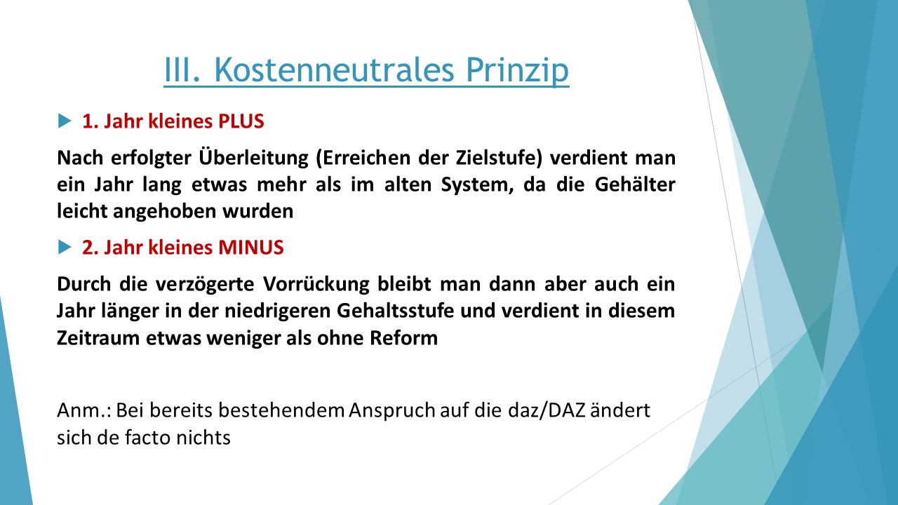 III. Kostenneutrales Prinzip