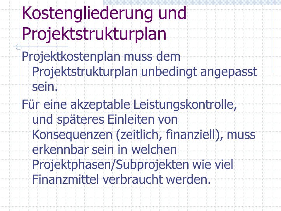 Kostengliederung und Projektstrukturplan