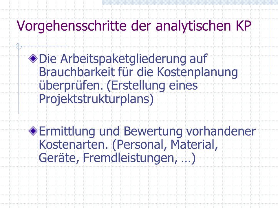 Vorgehensschritte der analytischen KP