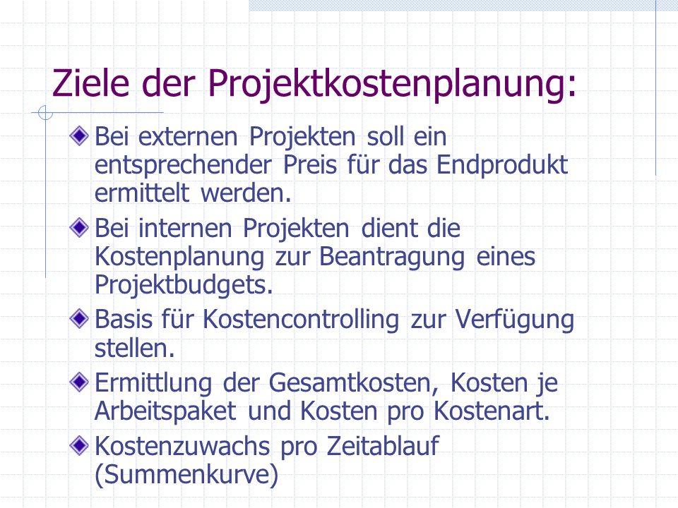 Ziele der Projektkostenplanung: