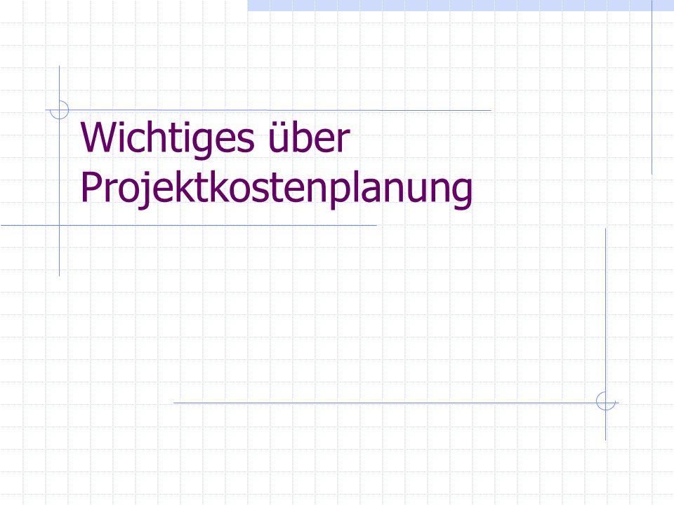 Wichtiges über Projektkostenplanung