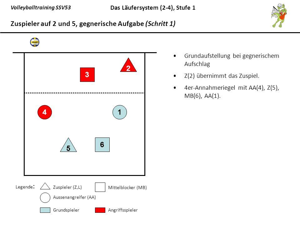 Zuspieler auf 2 und 5, gegnerische Aufgabe (Schritt 1)