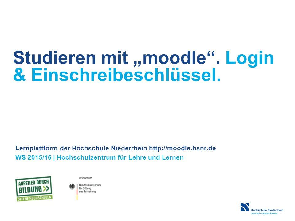 """Studieren mit """"moodle . Login & Einschreibeschlüssel."""
