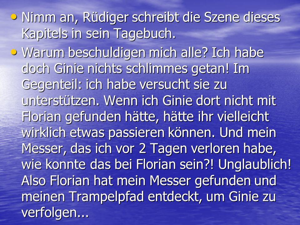 Nimm an, Rüdiger schreibt die Szene dieses Kapitels in sein Tagebuch.