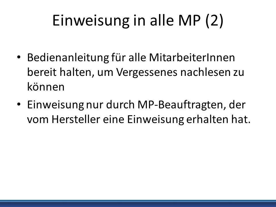 Einweisung in alle MP (2)