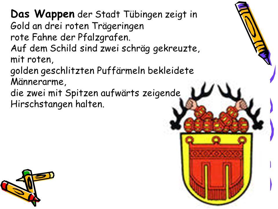 Das Wappen der Stadt Tübingen zeigt in Gold an drei roten Trägeringen