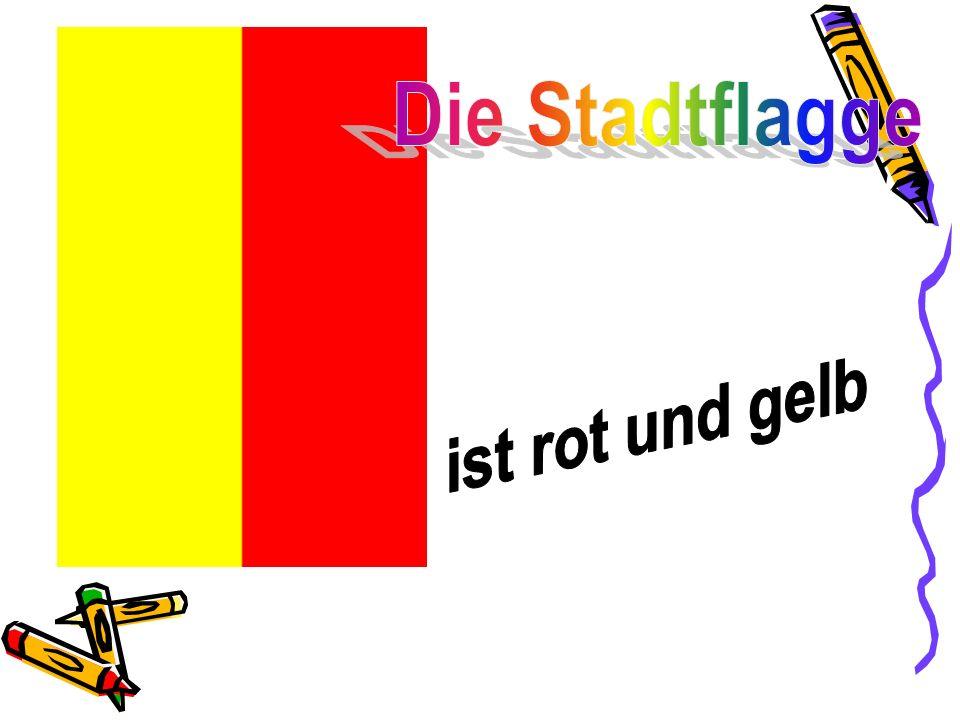 Die Stadtflagge ist rot und gelb