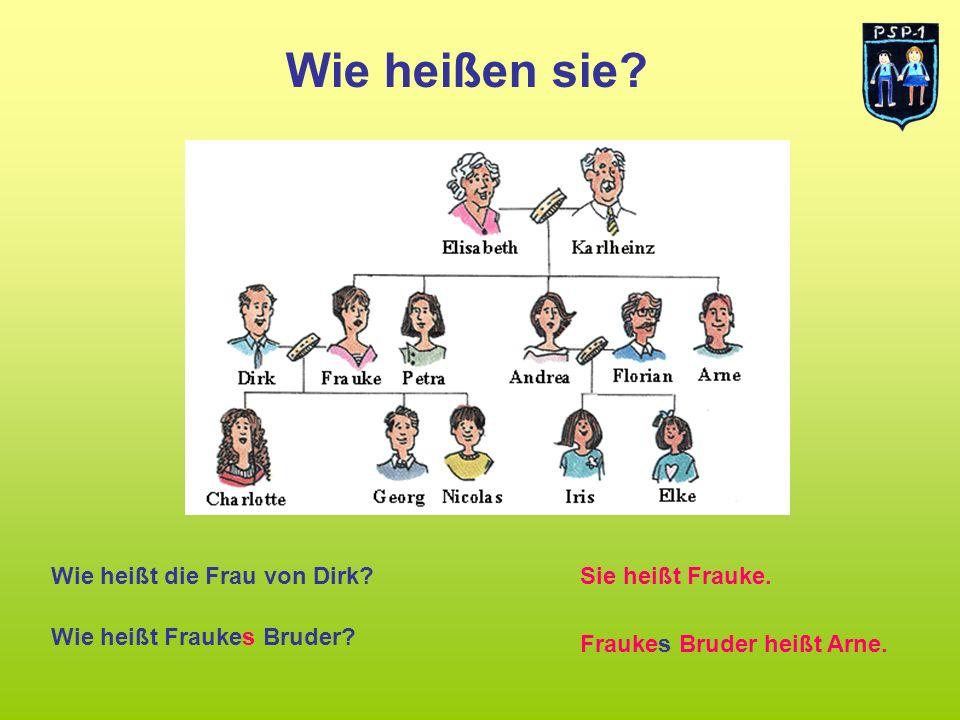 Wie heißen sie Wie heißt die Frau von Dirk Sie heißt Frauke.