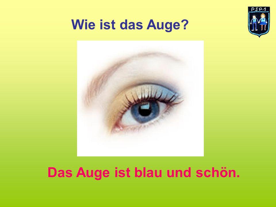 Wie ist das Auge Das Auge ist blau und schön.