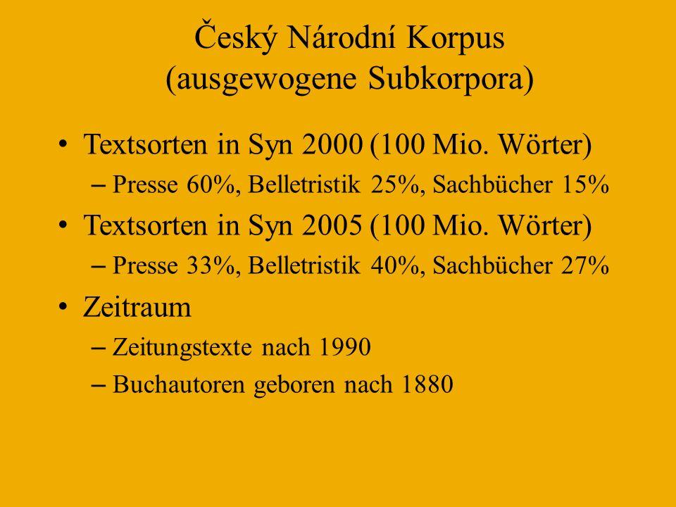 Český Národní Korpus (ausgewogene Subkorpora)