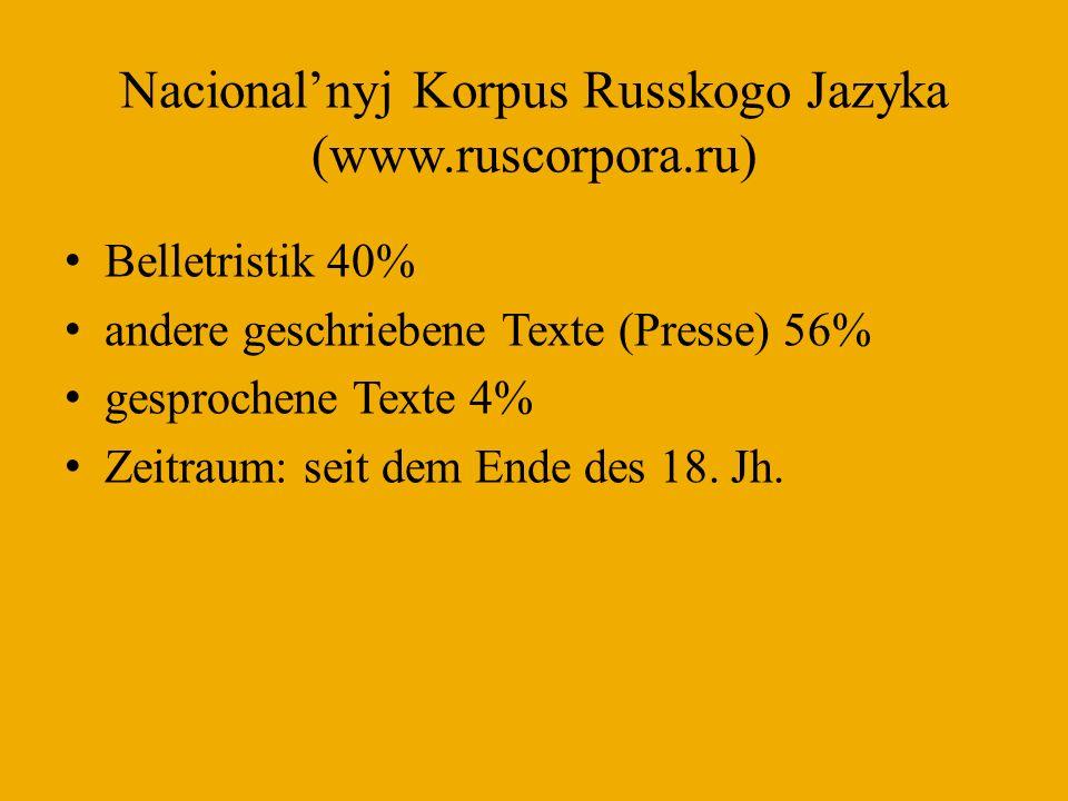 Nacional'nyj Korpus Russkogo Jazyka (www.ruscorpora.ru)