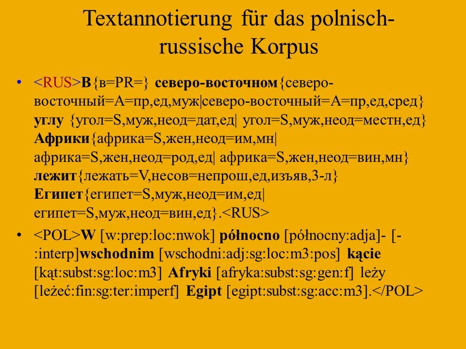 Textannotierung für das polnisch-russische Korpus