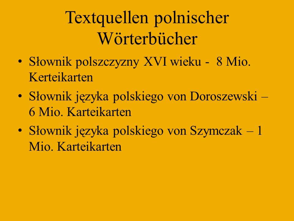Textquellen polnischer Wörterbücher