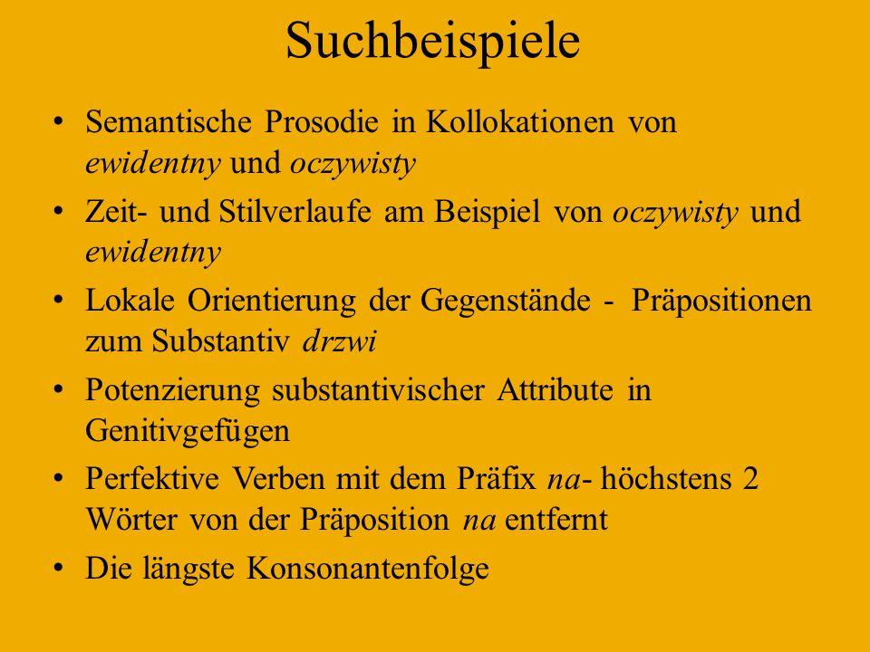 Suchbeispiele Semantische Prosodie in Kollokationen von ewidentny und oczywisty. Zeit- und Stilverlaufe am Beispiel von oczywisty und ewidentny.