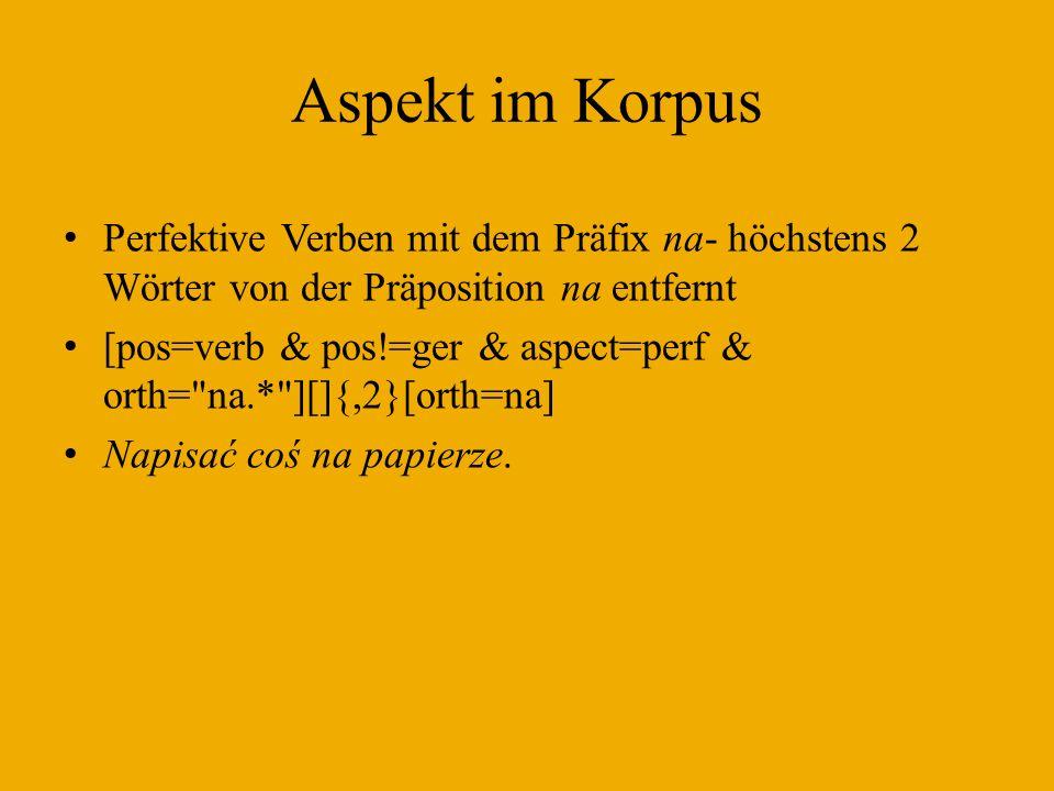 Aspekt im Korpus Perfektive Verben mit dem Präfix na- höchstens 2 Wörter von der Präposition na entfernt.