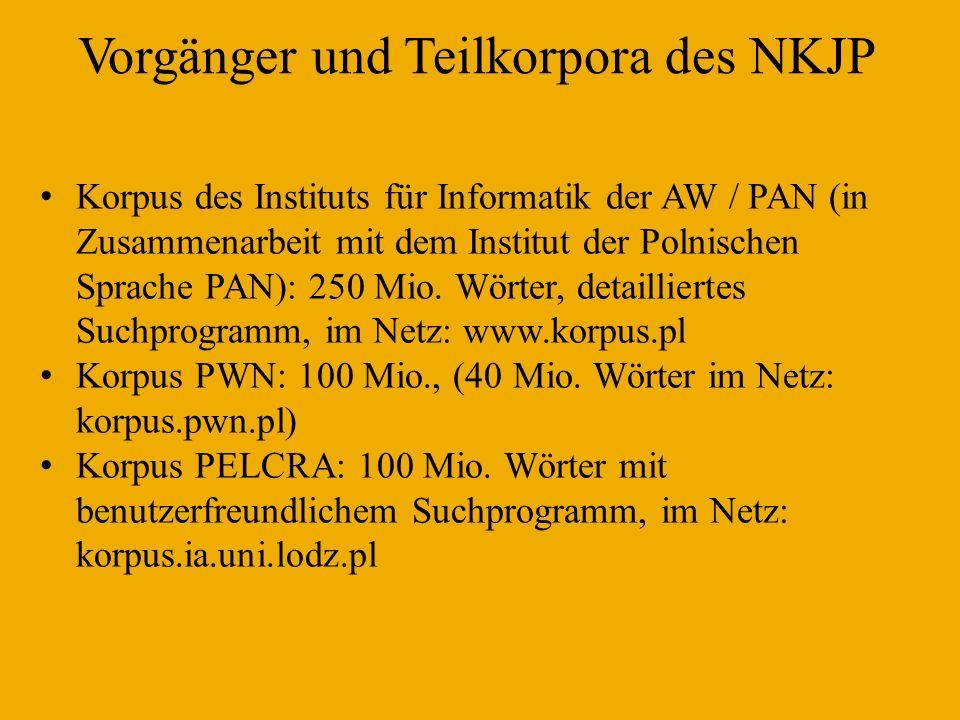 Vorgänger und Teilkorpora des NKJP