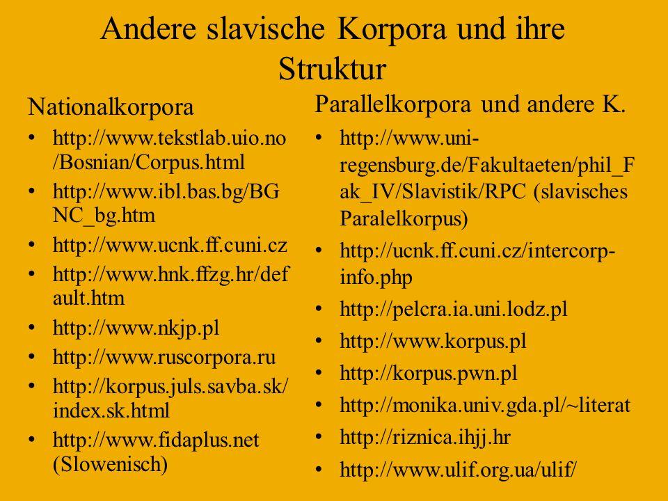 Andere slavische Korpora und ihre Struktur