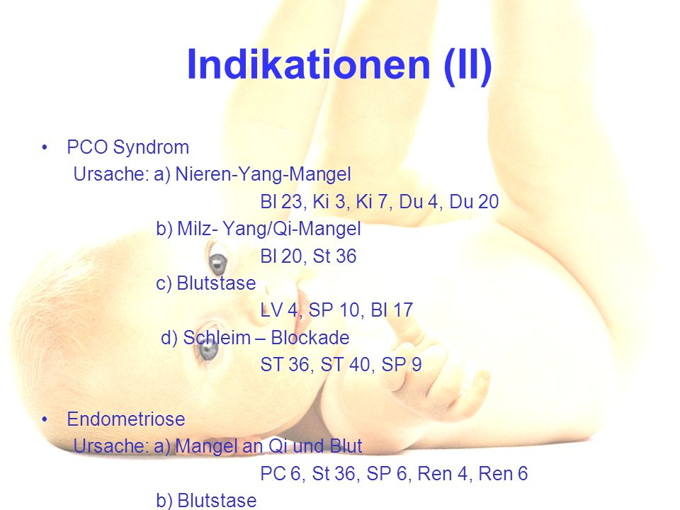 Indikationen (II) PCO Syndrom Ursache: a) Nieren-Yang-Mangel