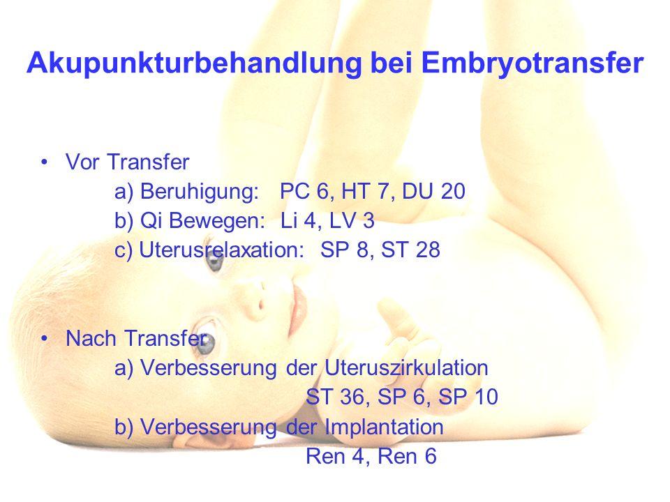 Akupunkturbehandlung bei Embryotransfer