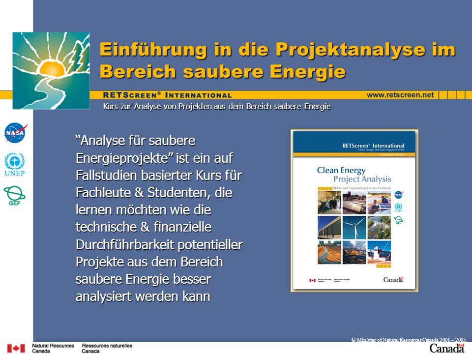 Kurs zur Analyse von Projekten aus dem Bereich saubere Energie
