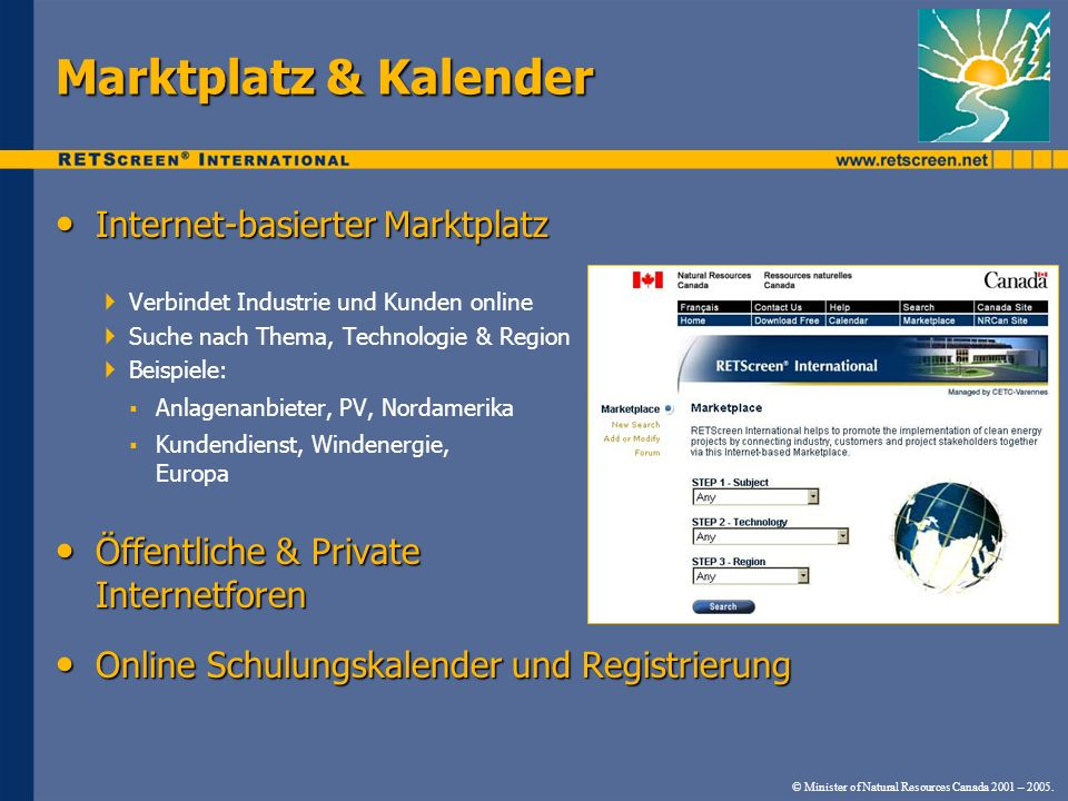 Marktplatz & Kalender Internet-basierter Marktplatz
