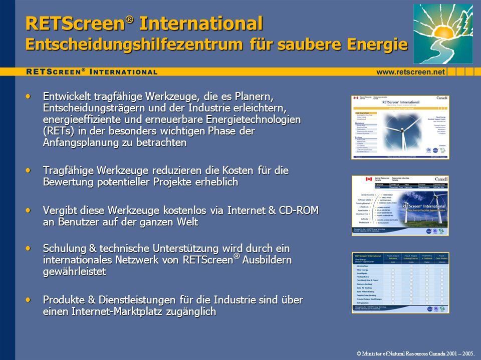 RETScreen® International Entscheidungshilfezentrum für saubere Energie