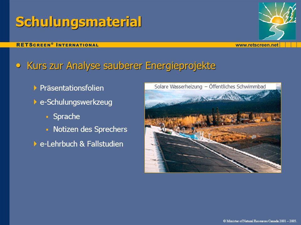 Schulungsmaterial Kurs zur Analyse sauberer Energieprojekte