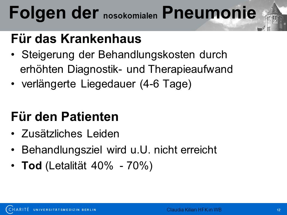 Folgen der nosokomialen Pneumonie